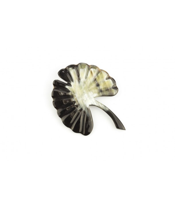 Large ginkgo brooch in marbled black horn