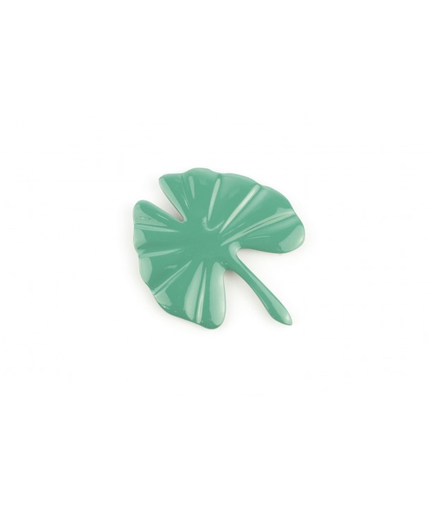 Large emerald green lacquered gingko brooch