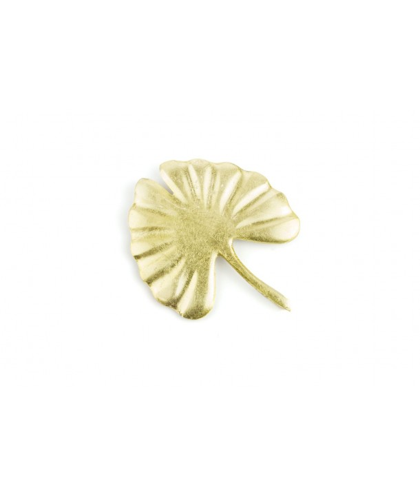 Large gold lacquered gingko brooch