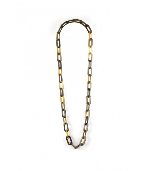 Flat oval rings long necklace in hoof