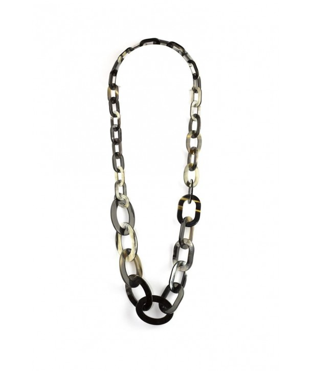 3-size flat oval rings long necklace in marbled black horn