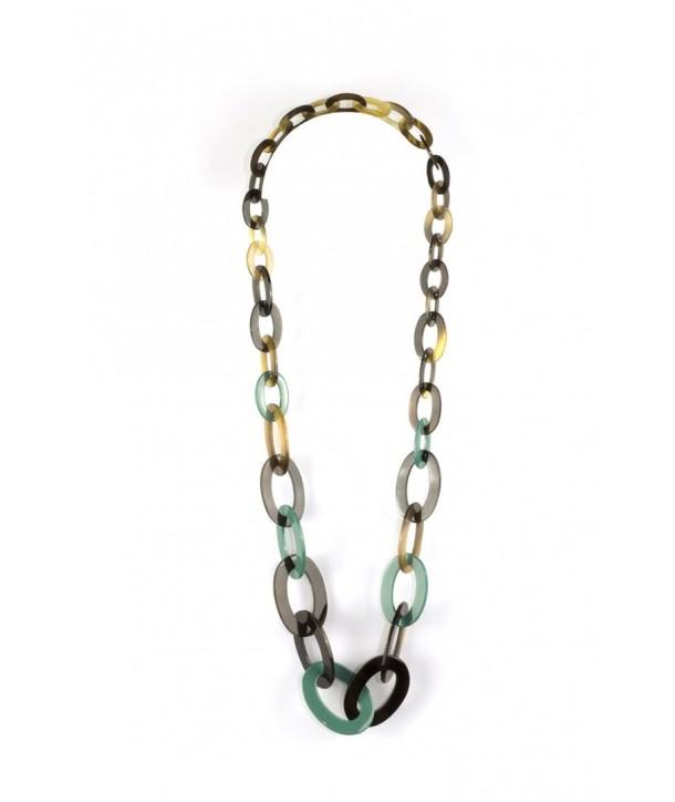 Sautoir anneaux plats ovales de 3 tailles laqué vert émeraude