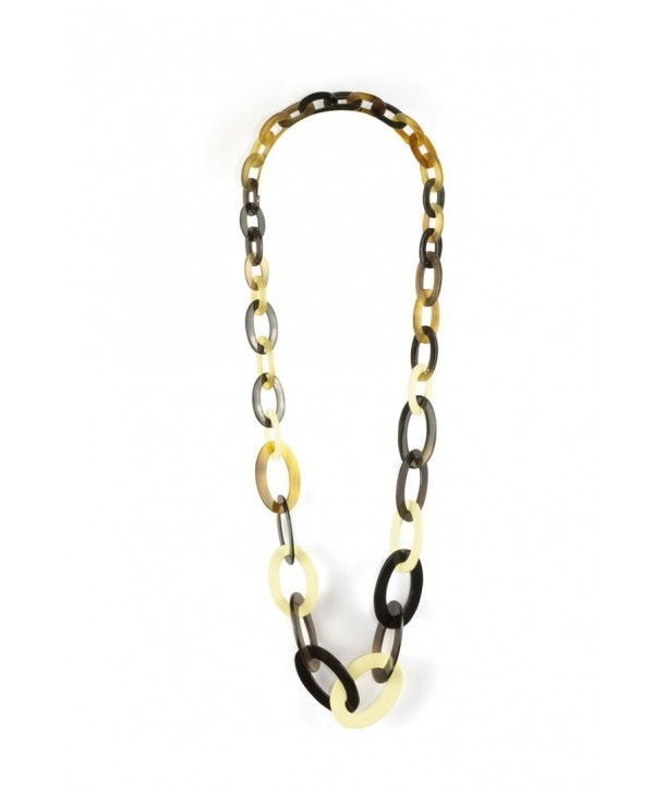 3-size flat oval rings long necklace with ivory lacquer