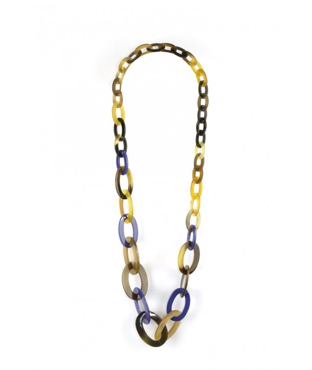 3-size flat oval rings long necklace with indigo blue lacquer