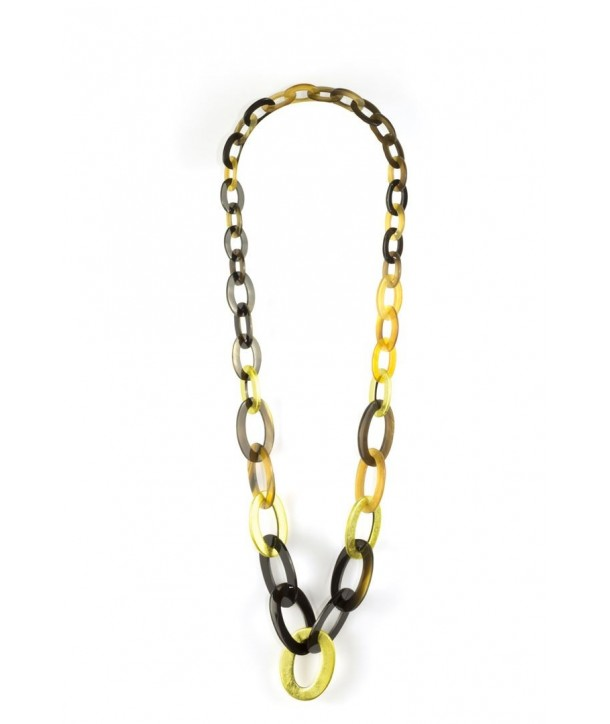 3-size flat oval rings long necklace with golden lacquer
