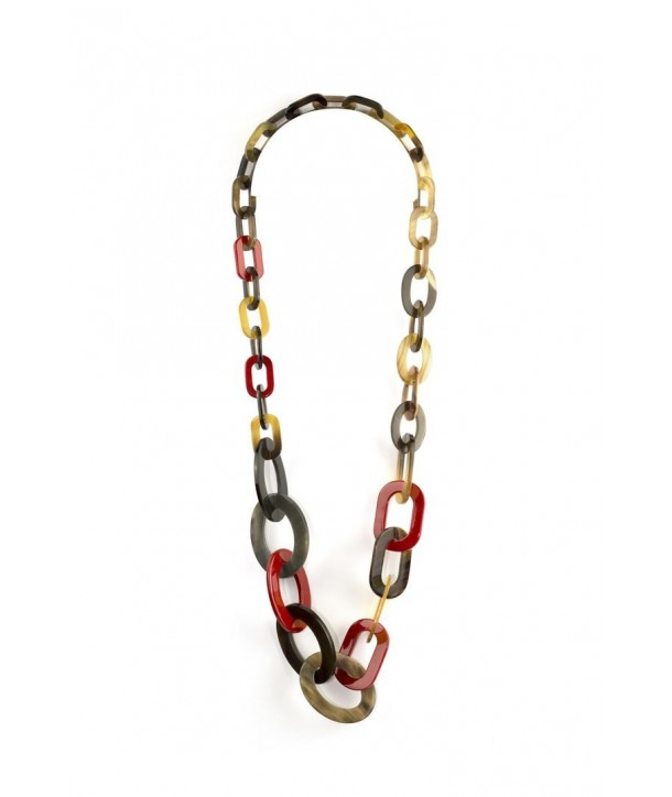 3-size flat oval rings long necklace with red lacquer