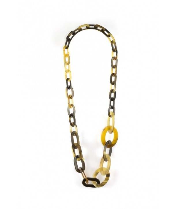3-size flat oval rings long necklace in hoof