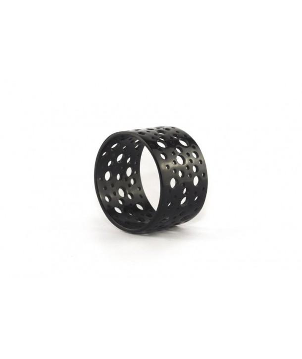 Bracelet large en corne perforée en corne noire unie