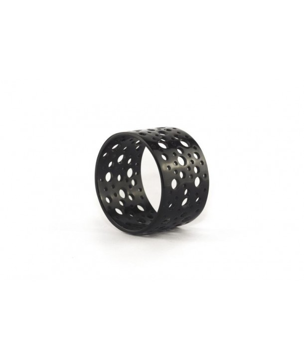 Broad black perforated bracelet in plain black horn