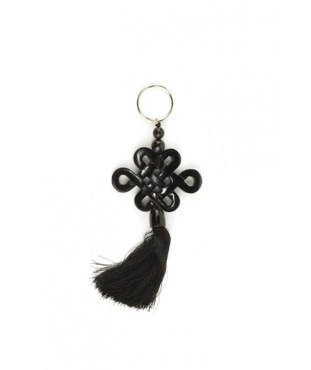 Porte clé symbole longévité tibétain en corne noire unie