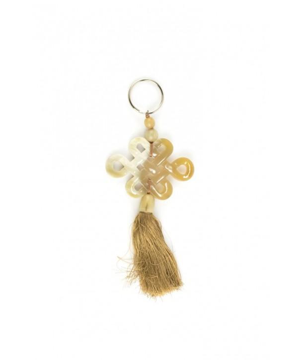 Porte clé symbole longévité tibétain en corne blonde