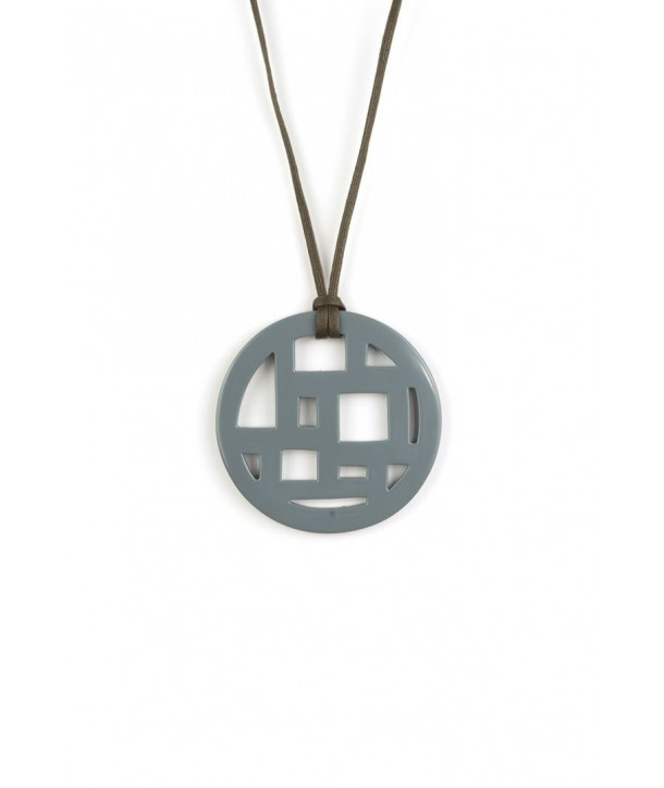 Checkered gray-blue lacquered pendant