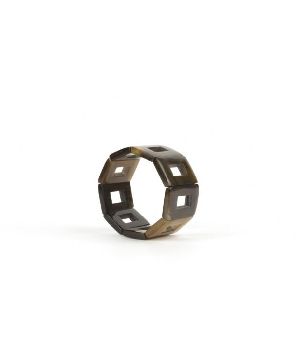 Bracelet articulé pièces carrées ajourées en sabot