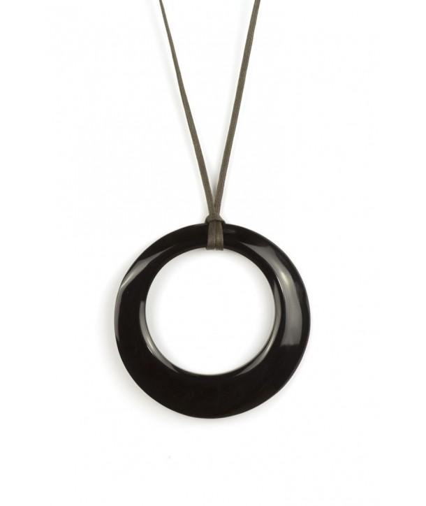 Large irregular ring pendant in plain black horn